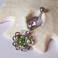 Belly Button Ring - Piercing - Curved Barbell - Navel Piercing - Peridot Swarovski Crystal Flower Drop - READY TO SHIP