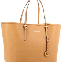 MICHAEL Michael Kors Saffiano Medium Travel Tote Handbags - Tan