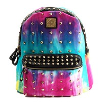 Tie Dye Gradient Studded Backpack School Bag