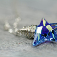 Blue Crystal Star Necklace, 20mm Small Christmas Star Necklace, Winter Jewelry, Swarovski Crystal Necklace, Sterling Silver Wire Wrapped