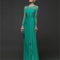 Green Column Lace Long Sleeves Chiffon 2014 Prom Dresses IPG0149 -Shop offer 2013 wedding dresses,prom dresses,party dresses for girls on sale. #Category#