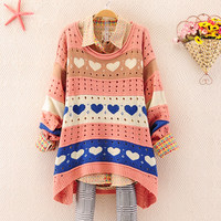 Heart Shaped Hollow Out Loose Sweater