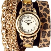 Triple Chain Wrap Watch-Cheetah Print:Amazon:Watches