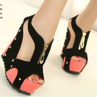 New Fashion women Super-High Heel Pump Platform Shoes wedge sandals boots shoes
