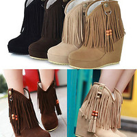 Women's Fashion Wedge Heels Ankle Boots Tassels WInter Snow Pull On Boots