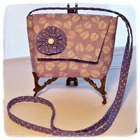 Lavender Stadium Purse Small Crossbody Bag Leaves Pocket Handmade