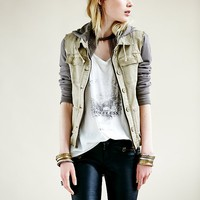 Free People Womens Knit Hooded Twill Jacket -