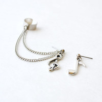 Silver Music Notes Ear Cuff (Pair)