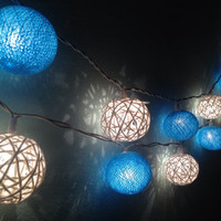 Cotton ball string lights for home decor,party decor,wedding patio,20 pieces indoor rope&ball string lights bedroom fairy lights,blue,white