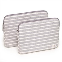 Poketo Striped Fleece Laptop Case - Light Grey