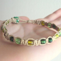 Natural Hemp Bracelet Square Knot Macrame Jewelry Green Beaded Bracelet