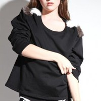 s.o.b - women's arctic lagomorph top (black) | S.O.B | 80's Purple