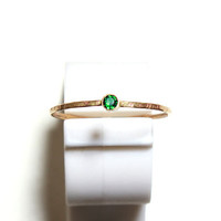 May Birthstone Stacking Ring in Gold Emerald Ring by jewelryVI