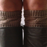 Brown Boot Liners Boot Cuffs Handknit Cabled Boot Toppers