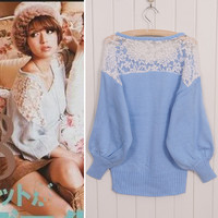Hollow out hook flower bud silk lantern sleeve sweater JCDD
