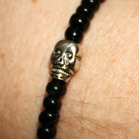 Halloween: Silver Skull Bracelet in Black, With or Without Matching Earrings, Stretch, Stacking #skull #Halloween #bracelet