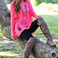 Leaning On Neon Sweater: Neon Pink | Hope's