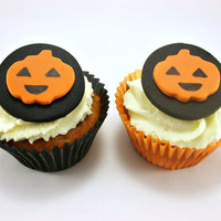 12 Halloween Cake Cupcake Cookie Fondant Toppers, Halloween Party Decoration, Pumpkin Jack-O-Lantern Topper, Edible Halloween Toppers