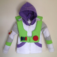 Disney Pixar Toy Story inspired Buzz Lightyear fleece hoodie shirt (child sizes)