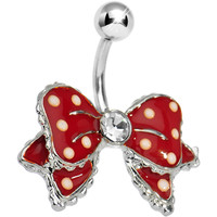 Dandy Red Polka Dot Bow Belly Button Ring   Body Candy Body Jewelry