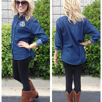 Monogrammed Ladies Long Sleeve Denim Shirt FLASH SALE