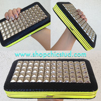 Studded Clutch Wallet -  Neon Yellow & Black Faux Snakeskin -  Silver Studs
