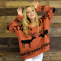 Season's Greetings Rust Oversized Reindeer Sweater