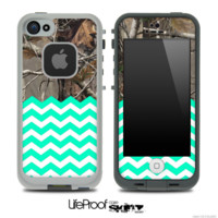 Mixed Real Camouflage and Trendy Green Chevron Pattern Skin for the iPhone 5 or 4/4s LifeProof Case