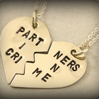 Partners in Crime Necklaces - Best Friends Forever - BFF Split Heart Necklaces - Best Bitches Jewelry