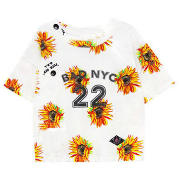 ROMWE | Daisy Print White T-shirt, The Latest Street Fashion