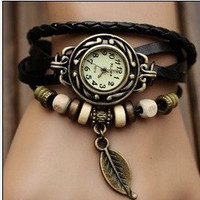 Lady Watch Vintage Style Wrist Watch Real Leather Bracelet, Handmade Women's Watch, Everyday Bracelet  T031