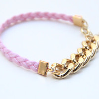 ON SALE Arm Candy  Gold chunky chain with Pink Leather by Brinkle