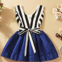 V-neck striped tutu dress stitching A 090537 -555