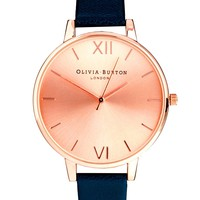Olivia Burton | Olivia Burton Big Dial Navy Watch With Rose Gold Face at ASOS