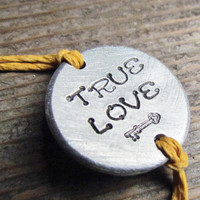 True Love Bracelet Friendship Personalized Hand Stamped ONE Tie On Hemp Cord ROUND Charm Style Besties BFF Jewelry