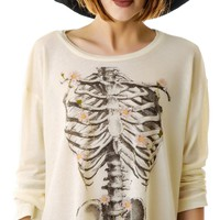 Wildfox Couture Daisy Bones Rainy Beach House T Champagne
