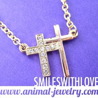 SALE - Double Cross Shaped Charm Necklace in Gold with Rhinestones
