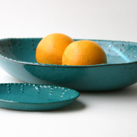 Large Oval Stoneware Family Bowl - Dark Teal Turquoise - Modern Dinnerware Home Decor