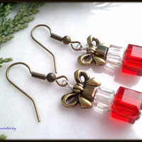 Red, Clear Silver and Bronze Swarovski Crystal Stack of Gifts Earrings