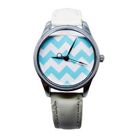 Blue Chevron Watch, Women's White Faux Leather Watch, Chevron Custom Watch