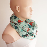 BUTTERFLY-Infinity Scarf, Long Scarf...Spring color  Dancing...Mint Green Gauze... Scarf.