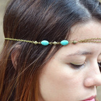Chain Headpiece Headband Hair Piece Bohemian Hipster Boho Hippie Bronze Sandara Turquoise Stone Bridal Jewelry