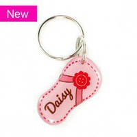 Pink Flower Flip-Flop Shape Pet ID tag - Happy Tags