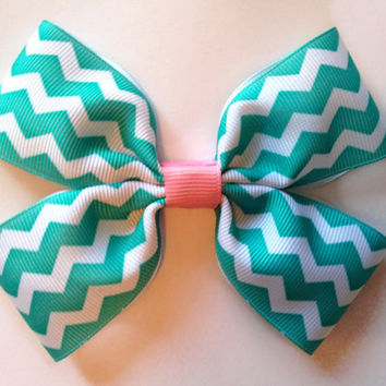 Tiffany Blue and Pink Chevron Bow Grosgrain Pinwheel 4.5 Inch