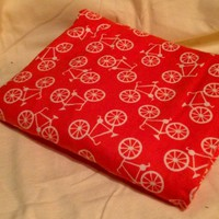 Bicycles on Orange Receiving Blanket Swaddling Blanket Double sided