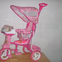 Pink Childrens Tricycle w/ Cabana Style Top Cover and Removable Infant Compatible Seat