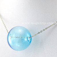 bubble necklace, Transparent Glass Bubble Necklace, blue bubble Necklace, Transparent Necklace with hand blown glass