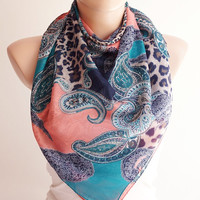 Pasley Scarf, Leopard Design Scarf, Pink and Teal Blue and dark blue