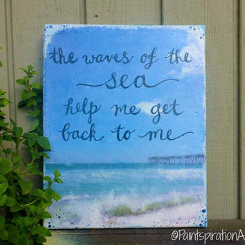 Inspirational quote art canvas beach art from paintspiration for Inspirational quotes painted on canvas