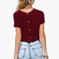 Day Gaze Crop Top in Burgundy